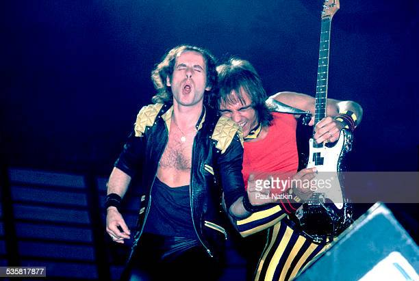 View of the band the Scorpions performing at the Rosemont Horizon Rosemont Illinois May 20 1984