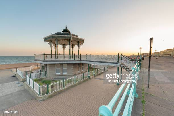 a view of the bandstand at brighton and hove, uk at dusk - hove stock pictures, royalty-free photos & images