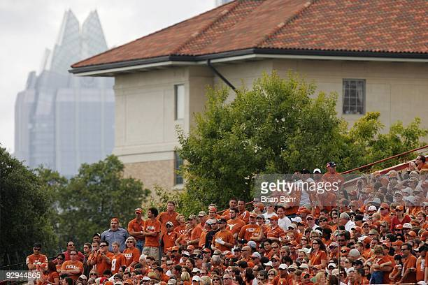 A view of the Bank of American building in downtown Austin as Texas Longhorns fans watch a game against the UCF Knights on November 7 2009 at Darrell...