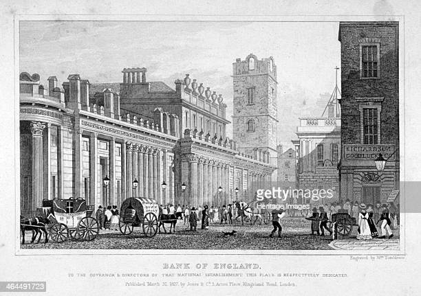 View of the Bank of England City of London 1827 with a street scene and horsedrawn carriages