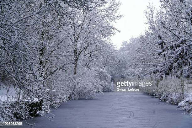 View of the banks of the canal Seclin as winter weather hits France on January 23 2019 near Lille France