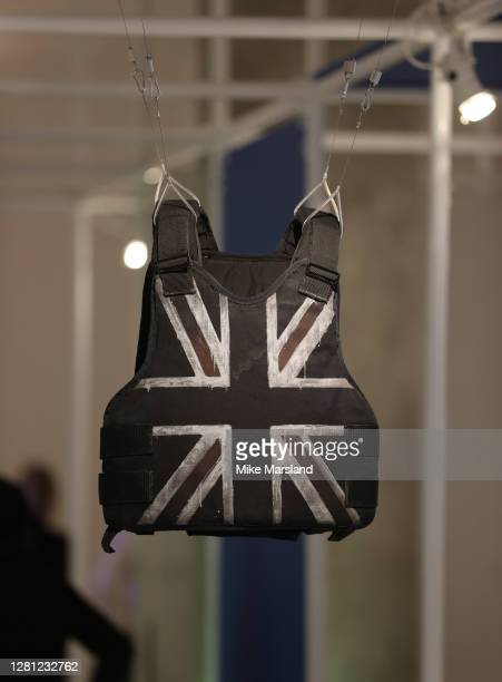 View of the Banksy stabproof vest which was worn by Stormzy's at Glastonbury 2019 Part of the Beazley Designs Of The Year 2020 photocall at Design...