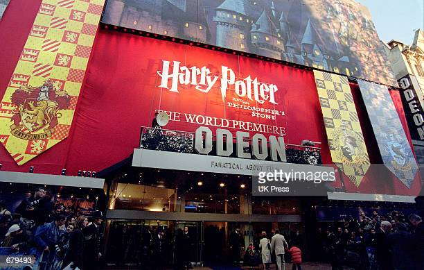 A view of the banner for the premiere of 'Harry Potter and the Philosopher's Stone' November 4 2001 in London