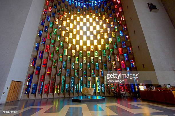 A view of the baptistry window by John Piper in Coventry Cathedral