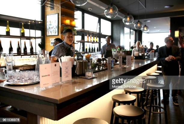 A view of the bar at the Rogers Cowan celebration of Click My Closet launch with Ashley Greene at Arlo Soho on May 22 2018 in New York City