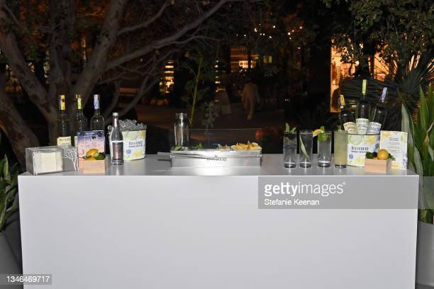 View of the bar is seen during a work out led by Megan Roup from The Sculpt Society as Olympian Allyson Felix opens Saysh's new experiential space on...