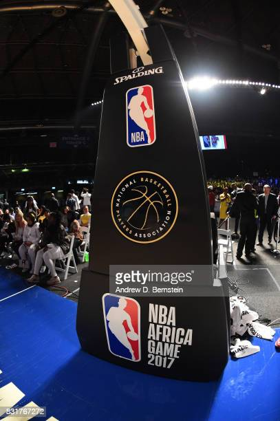 A view of the basket stanchion with signages of Team Africa against Team World in the 2017 Africa Game as part of the Basketball Without Borders...