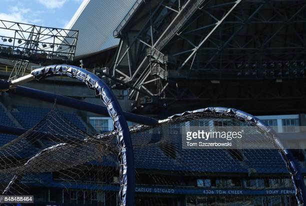 A view of the batting cage with the domed roof in the background before the Toronto Blue Jays take batting practice prior to the start of MLB game...