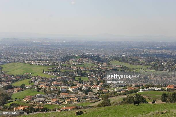 view of the bay area from mission peak, fremont - fremont california stock pictures, royalty-free photos & images