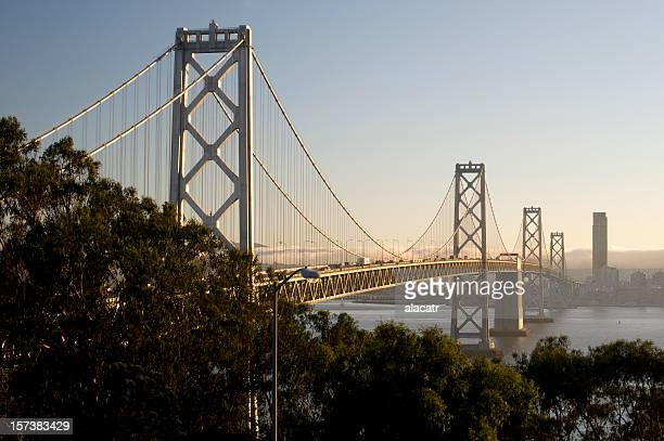 view of the bay bridge in san francisco california - bay bridge stock pictures, royalty-free photos & images