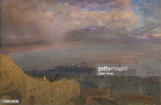 View of the Bay of Naples with Vesuvius, Smoking, in the Distance Watercolor with touches of gouache over graphite, 19-1/2 x 29 5/8 in , Drawings,...