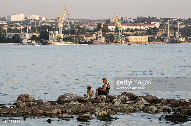 A view of the Bay of Sevastopol on August 13 2015 in Sevastopol Crimea Russian President Vladimir Putin signed a bill in March 2014 to annexe the...