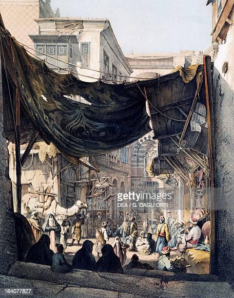 View of the bazaar towards the door of Bab alNasr in Cairo engraving Egypt 19th century