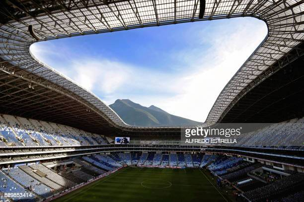 View of the BBVA Bancomer Stadium in Monterrey Nuevo Leon state Mexico before the start of the Mexican Apertura 2017 final match between Monterrey...