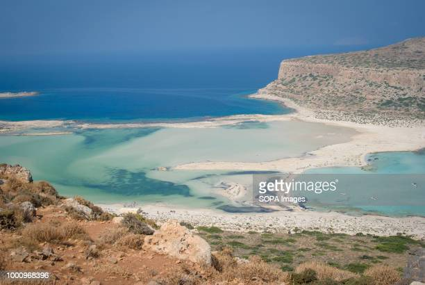 A view of the beach and sea at Balos beach which has beautiful blue water color and is one of the biggest tourist destinations in Crete