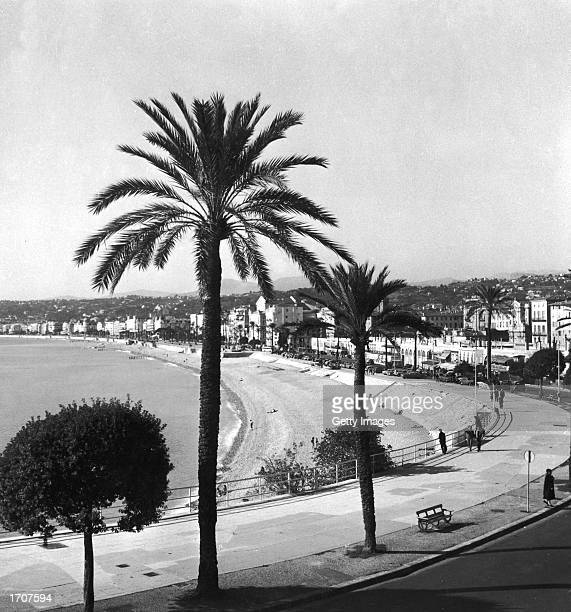 View of the beach at Nice France 1950s