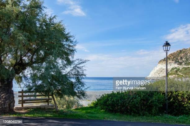 view of the beach in ogliastro corsica - finn bjurvoll stockfoto's en -beelden