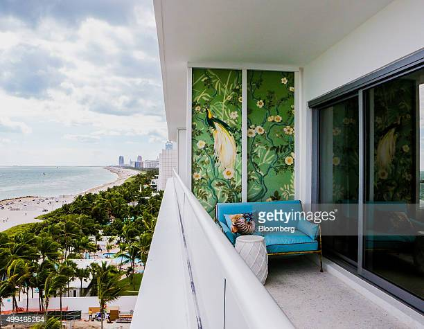 A view of the beach is seen from the balcony of a guest room at the Faena Hotel in Miami Florida US on Tuesday Nov 24 2015 The biggest news out of...