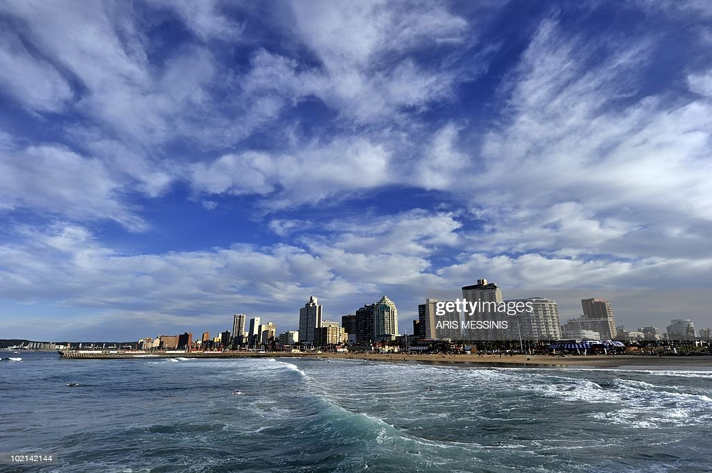 A view of the beach of Durban on 16 June, 2010 as the 2010 World Cup hosted by South Africa continues through July 11. AFP PHOTO / Aris Messinis