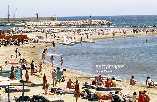 View of the beach of Marbella Malaga Andalusia Spain