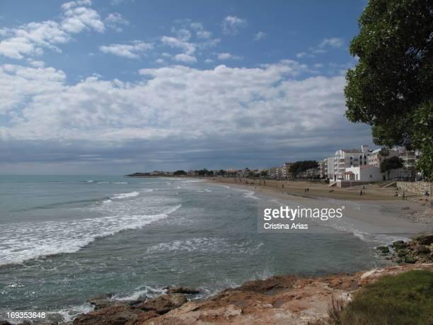 View of the Beach of the Carregador Beach in Alcossebre , Castellon, Valencian Comunity, Spain, April 2012.