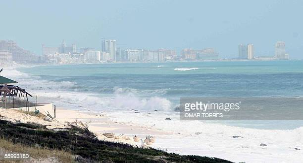 View of the beach of the Mexican seaside resort of Cancun 24 October 2005 in the aftermath of the devastating passage of Hurricane Wilma Hurricane...