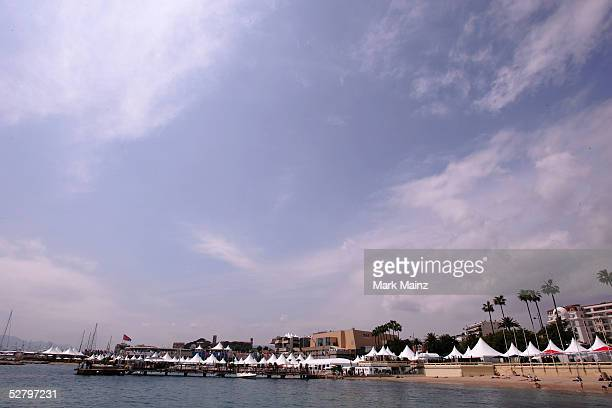 A view of the beach on the Croisette during the 58th International Cannes Film Festival May 11 2005 in Cannes France
