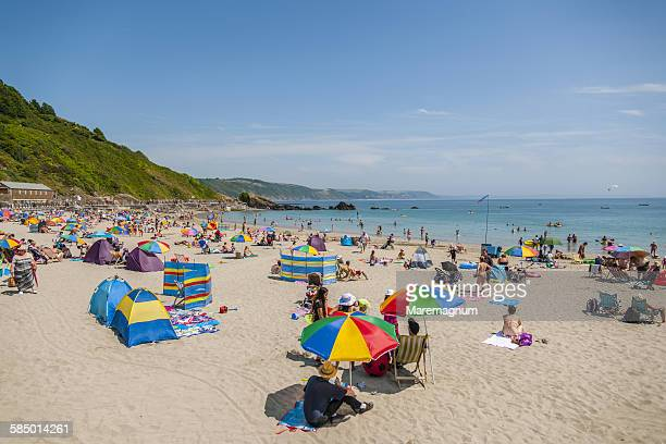 view of the beach - crowded beach stock pictures, royalty-free photos & images