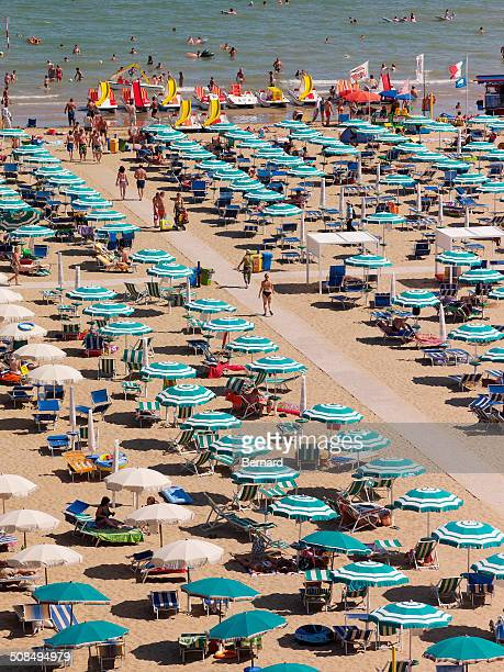 View of the beach with parasols and sun loungers, Lignano Sabbiadoro, Udine, Adriatic Coast, Italy, Europe