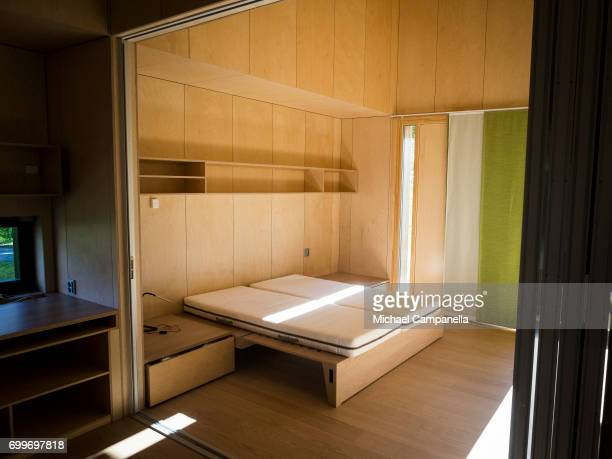 View of the bedroom in a zeroemissions home which was built for an exhibition during the 2017 Starmus Festifval on June 22 2017 in Trondheim Norway