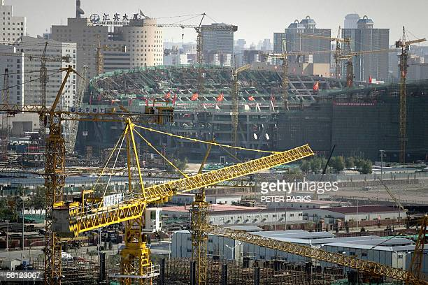 """View of the Beijing Olympic Stadium dubbed the """"Birdsnest"""" because of its looks, under construction 08 November 2005. With 1,000 days to go before..."""