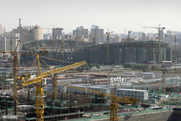 """View of the Beijing Olympic Stadium dubbed the """"Birdsnest"""" because of its looks under construction in Beijing 08 November 2005. With 1,000 days to go..."""