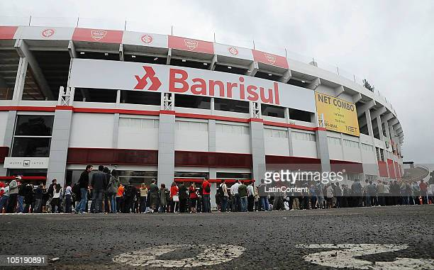 View of the Beira-Rio Stadium as people line to buy Paul McCartney's concert tickets on October 7, 2010 in Porto Alegre, Brazil. The Beira-Rio, owned...