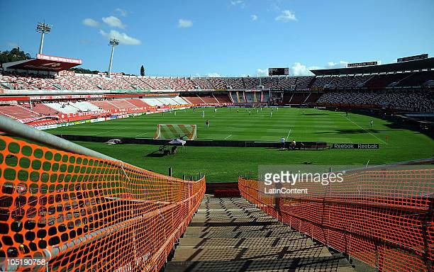 View of the BeiraRio Stadium as renovation work progresses on October 10 2010 in Porto Alegre Brazil The BeiraRio owned by SC Internacional will host...