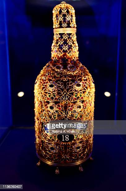 A view of the bejeweled Chivas 18 bottle designed by jewelry designer Siddharth Kasliwal at the third edition of Chivas 18 Alchemy 2019 on March 16...