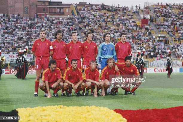 View of the Belgium international football team posed together on the pitch prior to their Round of 16 match with England in the 1990 FIFA World Cup...