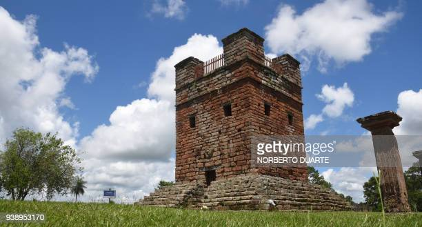 View of the bell tower ruins of the Jesuit Mission of Santisima Trinidad de Parana 30 kilometres northeast of Encarnacion Paraguay on January 29 2018...