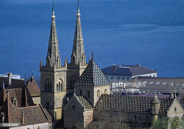 View of the bell towers of the Collegiate Church of Neuchatel, Canton of Neuchatel, Switzerland, 12th-19th century.