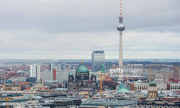 View of the Berlin skyline seen from Potsdamer Platz to Alexanderplatz including the TV Tower the Berlin Cathedral the Berlin palace under...