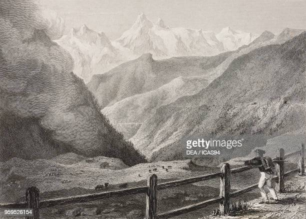 View of the Bernese Alps from the Simplon Pass road Switzerland engraving by Robert Brandard after a drawing by William Brockedon from Illustrations...