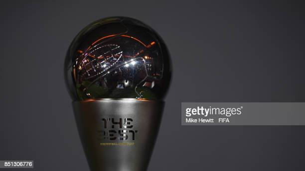 A view of The Best FIFA Football Awards trophy prior to The Best FIFA Football Awards 2017 press conference at The Bloomsbury Ballroom on September...