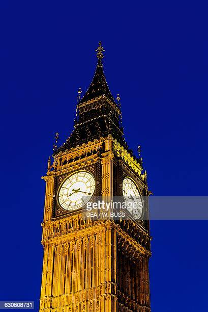 View of the Big Ben at night detail London England United Kingdom 19th century