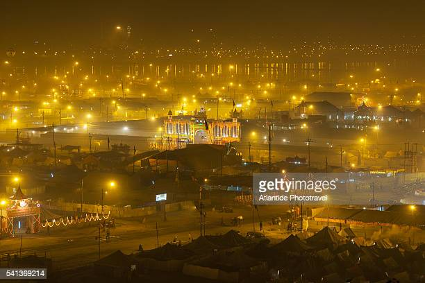 view of the big camp along the ganges river - kumbh mela stock pictures, royalty-free photos & images