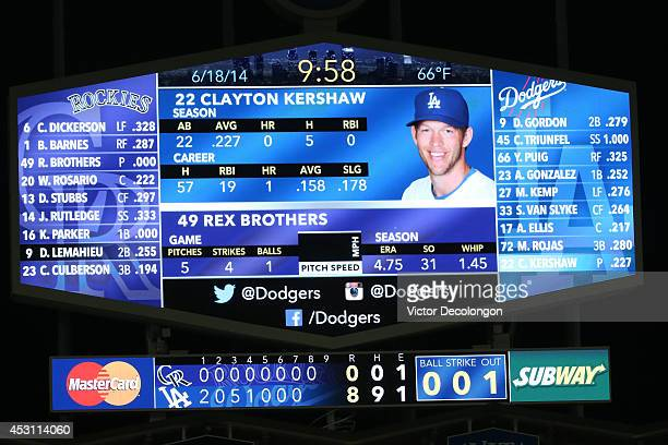 A view of the big screen in the outfield displays the 2014 season and career batting statistics of pitcher Clayton Kershaw of the Los Angeles Dodgers...