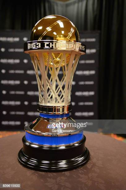 A view of the BIG3 three on three basketball league championship trophy on August 26 2017 in Las Vegas Nevada