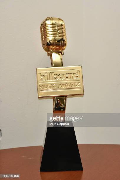 A view of the Billboard Music statue during the Billboard Music Awards Nominations Announcement at Good Morning America Studios on April 10 2017 in...