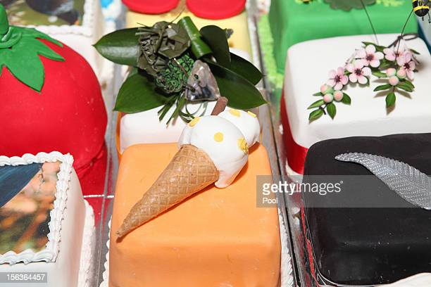 A view of the birthday cake for Prince Charles Prince of Wales during his 64th birthday celebrations at Government House on November 14 2012 in...