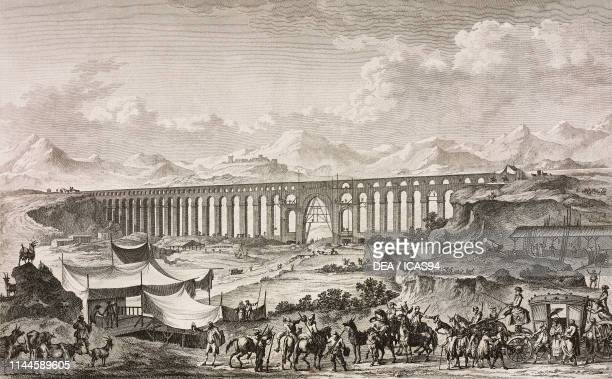 View of the Biscari aqueduct Adrano Sicily Italy engraving from Voyage pittoresque ou description des royaumes de Naples et de Sicile Part 1 Volume...