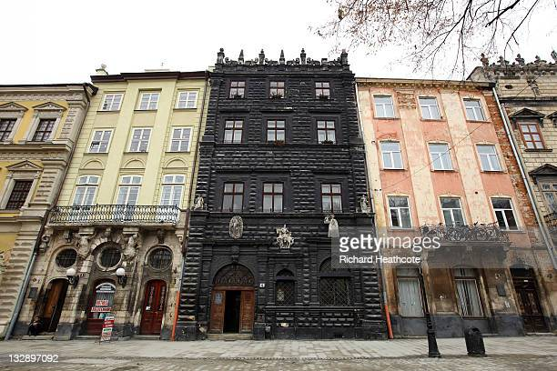 L'VIV UKRAINE NOVEMBER 15 A view of the Black Stone House built in 1588 from local grey standstone on November 15 2011 in L'viv Ukraine L'viv will be...