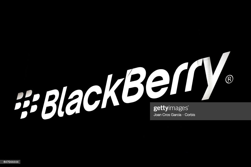 A view of the BlackBerry company logo on their stand during the Mobile World Congress on March 1, 2017 in Barcelona, Spain.
